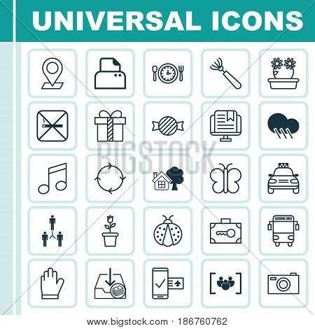 Set Of 25 Universal Editable Icons. Can Be Used For Web, Mobile And App Design. Includes Elements Such As Floret, Cigarette, Harrow And More.