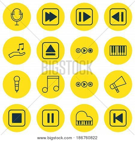 Set Of 16 Audio Icons. Includes Mute Song, Last Song, Note Donate And Other Symbols. Beautiful Design Elements.