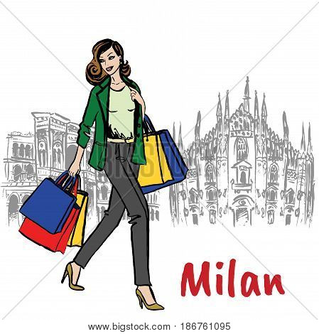 Sketch of woman with shopping bags near Milan Cathedral, Duomo di Milano, piazza del Duomo in Milan, Italy