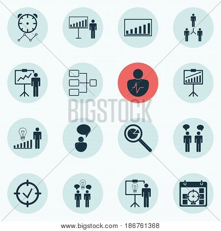 Set Of 16 Board Icons. Includes Project Analysis, Team Meeting, Project Targets And Other Symbols. Beautiful Design Elements.