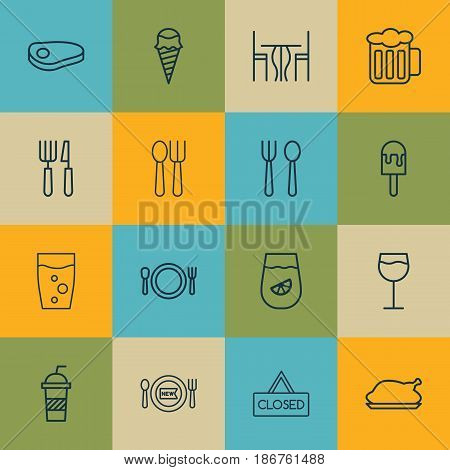 Set Of 16 Restaurant Icons. Includes Cutlery, Cutlery, Fresh Dining And Other Symbols. Beautiful Design Elements.