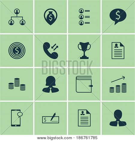 Set Of 16 Hr Icons. Includes Bank Payment, Messaging, Curriculum Vitae And Other Symbols. Beautiful Design Elements.