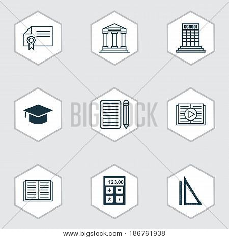 Set Of 9 Education Icons. Includes Opened Book, Graduation, Taped Book And Other Symbols. Beautiful Design Elements.