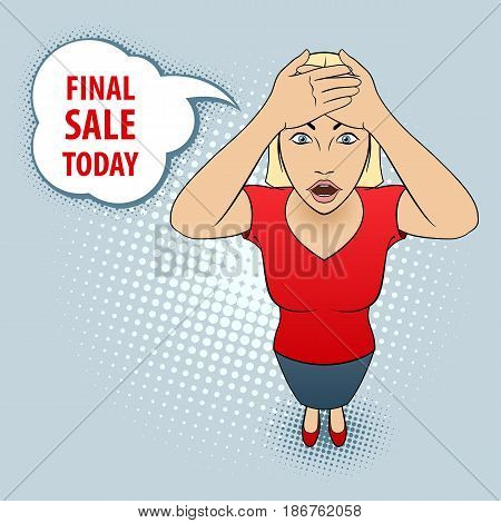 Illustration of a Young Woman in Red Blouse holds on to Her Head. Final Sale Today.