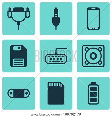 Set Of 9 Computer Hardware Icons. Includes Music, Memory Card, Aux Cord And Other Symbols. Beautiful Design Elements.