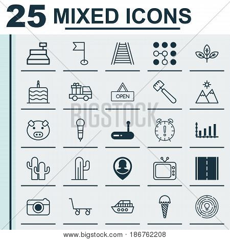 Set Of 25 Universal Editable Icons. Can Be Used For Web, Mobile And App Design. Includes Elements Such As Street, Cargo Cart, Sprout And More.