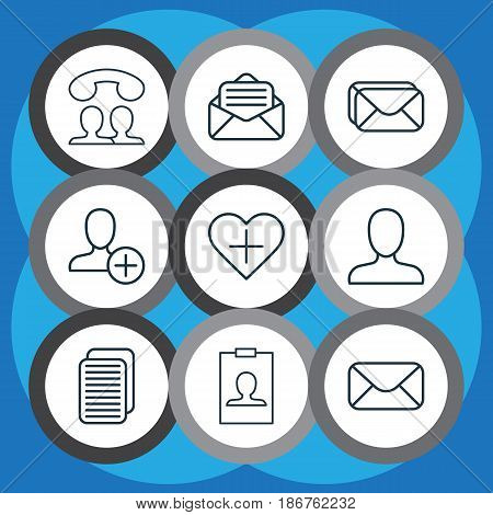Set Of 9 Social Network Icons. Includes Identity Card, Web Profile, Favorite Person And Other Symbols. Beautiful Design Elements.