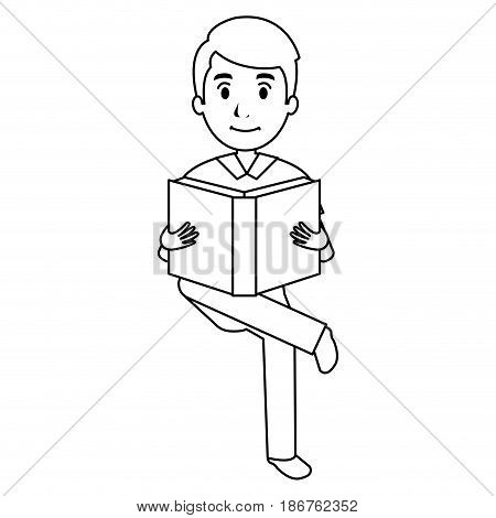 man reading textbook character vector illustration design