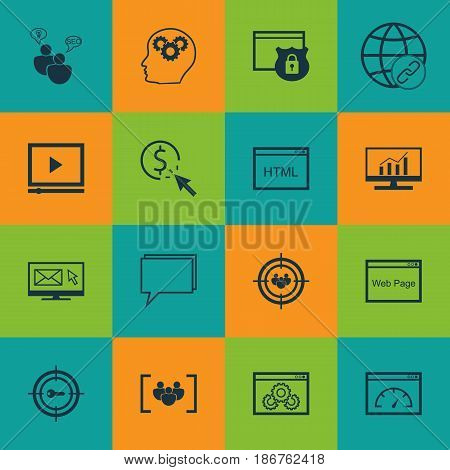 Set Of 16 SEO Icons. Includes Newsletter, Web Page Performance, PPC And Other Symbols. Beautiful Design Elements.