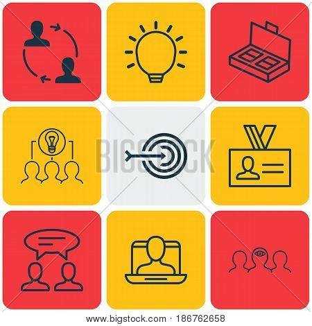 Set Of 9 Business Management Icons. Includes Dialogue, Coaching, Great Glimpse And Other Symbols. Beautiful Design Elements.