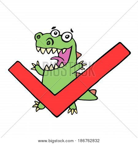 Funny dinosaur and tick. Vector illustration. Cute cartoon character.