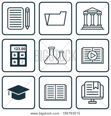 Set Of 9 Education Icons. Includes Home Work, Opened Book, Document Case And Other Symbols. Beautiful Design Elements.