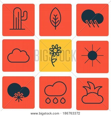 Set Of 9 Landscape Icons. Includes Raindrop, Cold Climate, Rain And Other Symbols. Beautiful Design Elements.