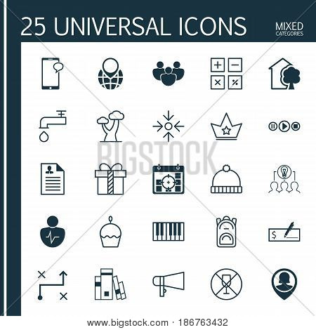 Set Of 25 Universal Editable Icons. Can Be Used For Web, Mobile And App Design. Includes Elements Such As Collaborative Solution, Alcohol Forbid, Rucksack And More.