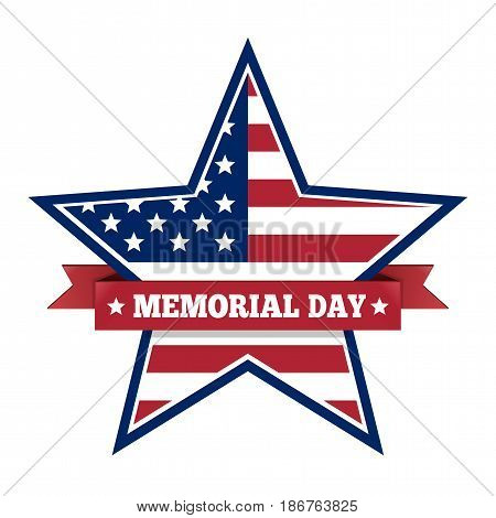 Memorial Day with star in national flag colors. Memorial Day symbol isolated on a white background. Memorial Day design. Vector illustration
