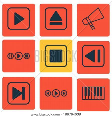 Set Of 9 Audio Icons. Includes Audio Buttons, Extract Device, Bullhorn And Other Symbols. Beautiful Design Elements.