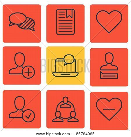 Set Of 9 Social Network Icons. Includes Confirm Profile, Teamwork, Note Page And Other Symbols. Beautiful Design Elements.
