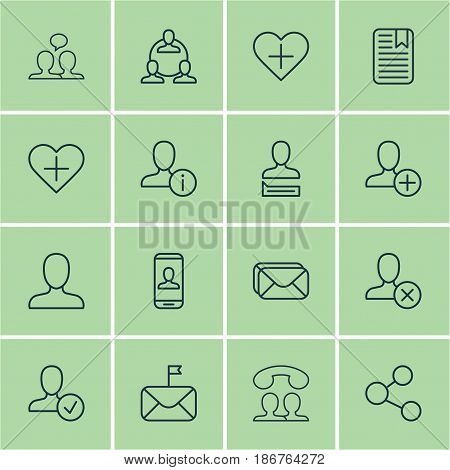 Set Of 16 Social Icons. Includes Teamwork, Web Profile, Add To Favorites And Other Symbols. Beautiful Design Elements.