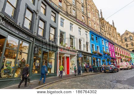 Victoria Street In The Old Town Of Edinburgh, Uk