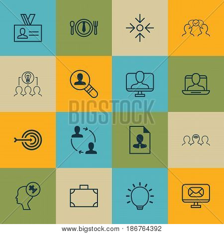 Set Of 16 Business Management Icons. Includes Great Glimpse, Social Profile, Online Identity And Other Symbols. Beautiful Design Elements.