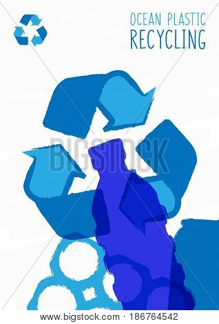 Ocean plastic recycling vector illustration. Plastic garbage bag bottle in the ocean graphic design. Water waste problem creative concept.