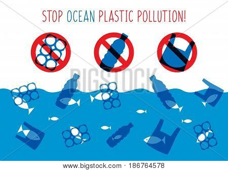 Stop ocean plastic pollution vector illustration. Plastic garbage bag bottle in the ocean graphic design. Water waste problem creative concept. Eco problem banner with restrictive sign.