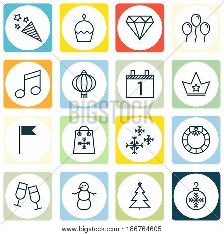 Set Of 16 Christmas Icons. Includes Decorated Tree, Brilliant, Winter And Other Symbols. Beautiful Design Elements.