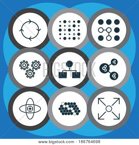 Set Of 9 Robotics Icons. Includes Mechanism Parts, Recurring Program, Variable Architecture And Other Symbols. Beautiful Design Elements.