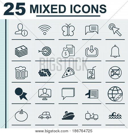 Set Of 25 Universal Editable Icons. Can Be Used For Web, Mobile And App Design. Includes Elements Such As Auto Car, Forbidden Mobile, Discount Coupon And More.