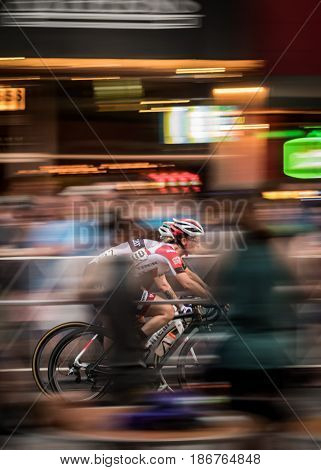 Athens GA United States: April 29 2017: Two Cyclists Race for Twilight Bike Race