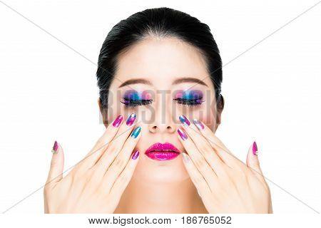 Asian Trendy Brunette Hair Lady Model