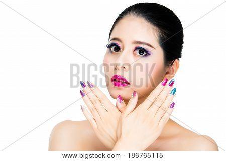 Asian Multi Colored Black Hair Girl Gaze