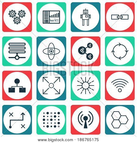 Set Of 16 Artificial Intelligence Icons. Includes Cyborg, Information Base, Variable Architecture And Other Symbols. Beautiful Design Elements.