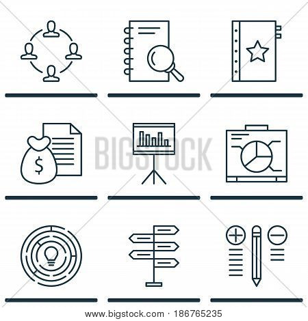 Set Of 9 Project Management Icons. Includes Collaboration, Decision Making, Presentation And Other Symbols. Beautiful Design Elements.