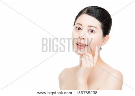 Asian Chinese Model Erase Eye Wrinkle Success.