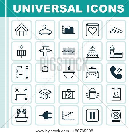 Set Of 25 Universal Editable Icons. Can Be Used For Web, Mobile And App Design. Includes Elements Such As Jug, Mute Song, Read Message And More.