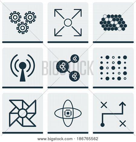 Set Of 9 Artificial Intelligence Icons. Includes Radio Waves, Atomic Cpu, Variable Architecture And Other Symbols. Beautiful Design Elements.