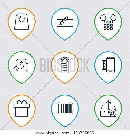 Set Of 9 E-Commerce Icons. Includes Mobile Service, Recurring Payements, Tote Bag And Other Symbols. Beautiful Design Elements.