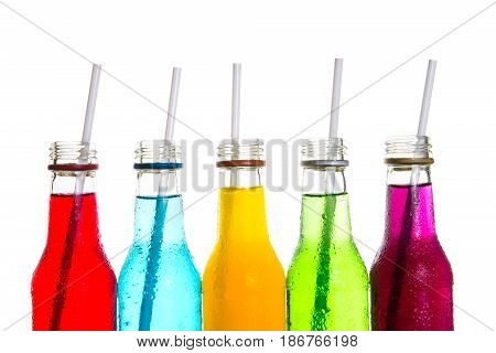 close up the cool colorful soft drink