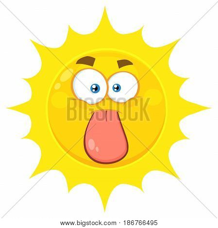 Funny Yellow Sun Cartoon Emoji Face Character Stuck Out Tongue. Illustration Isolated On White Background