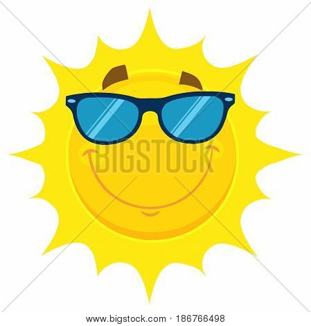 Smiling Yellow Sun Cartoon Emoji Face Character With Sunglasses. Illustration Isolated On White Background