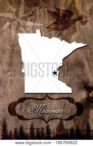 Poster Minnesota state map outline. Styling for tourism.