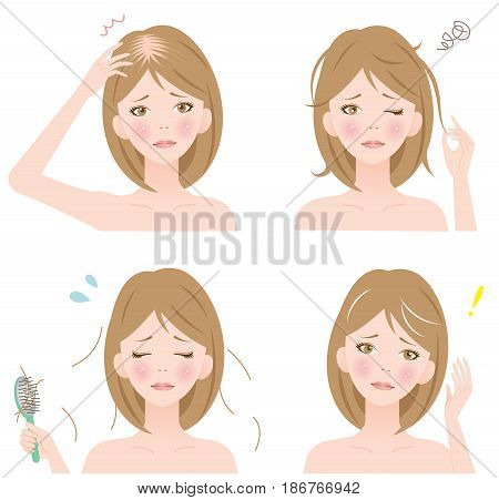 set of woman with hair problems: thinning, losing, gray, and unruly