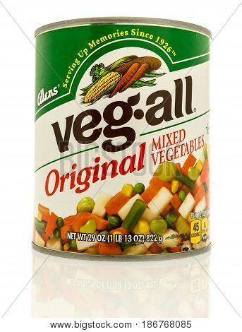Winneconne WI - 15 May 2017: A can of Allens Veg all original mixed vegetables on an isolated background.