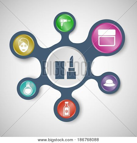 Beauty infographic templates with connected metaballs, stock vector