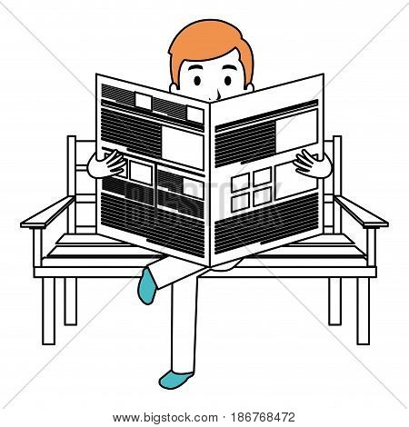 man reading newspaper in the park chair vector illustration design
