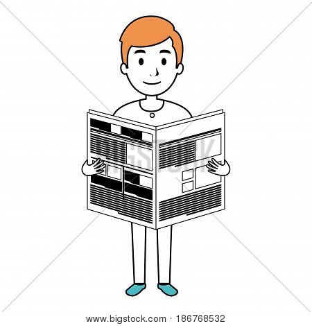 young man reading newspaper avatar character vector illustration design