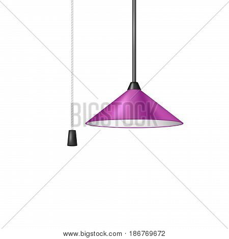 Retro hanging lamp in purple design with black and white cord switch on white background