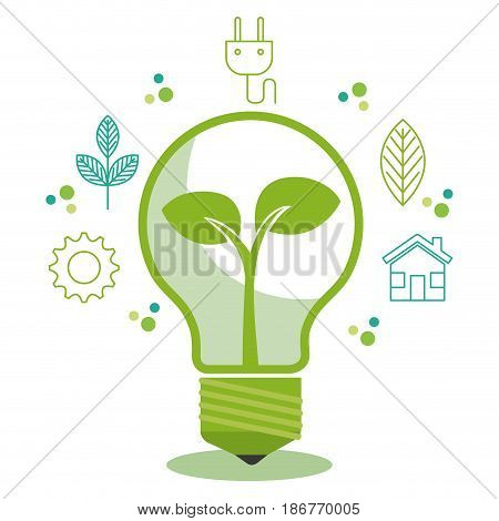 Green light bulb with crop and hand drawn eco friendly objects oer white background.Vector illustration.