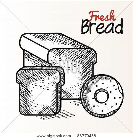 Hand drawn bread loaf and donut with fresh bread sign over white background. Vector illustration.
